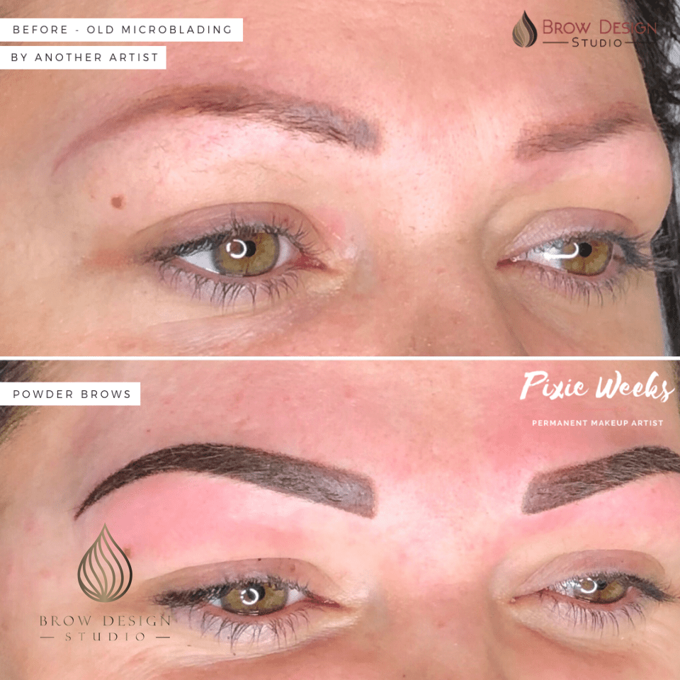 Cover up powder brows - precious microblading by another artist;