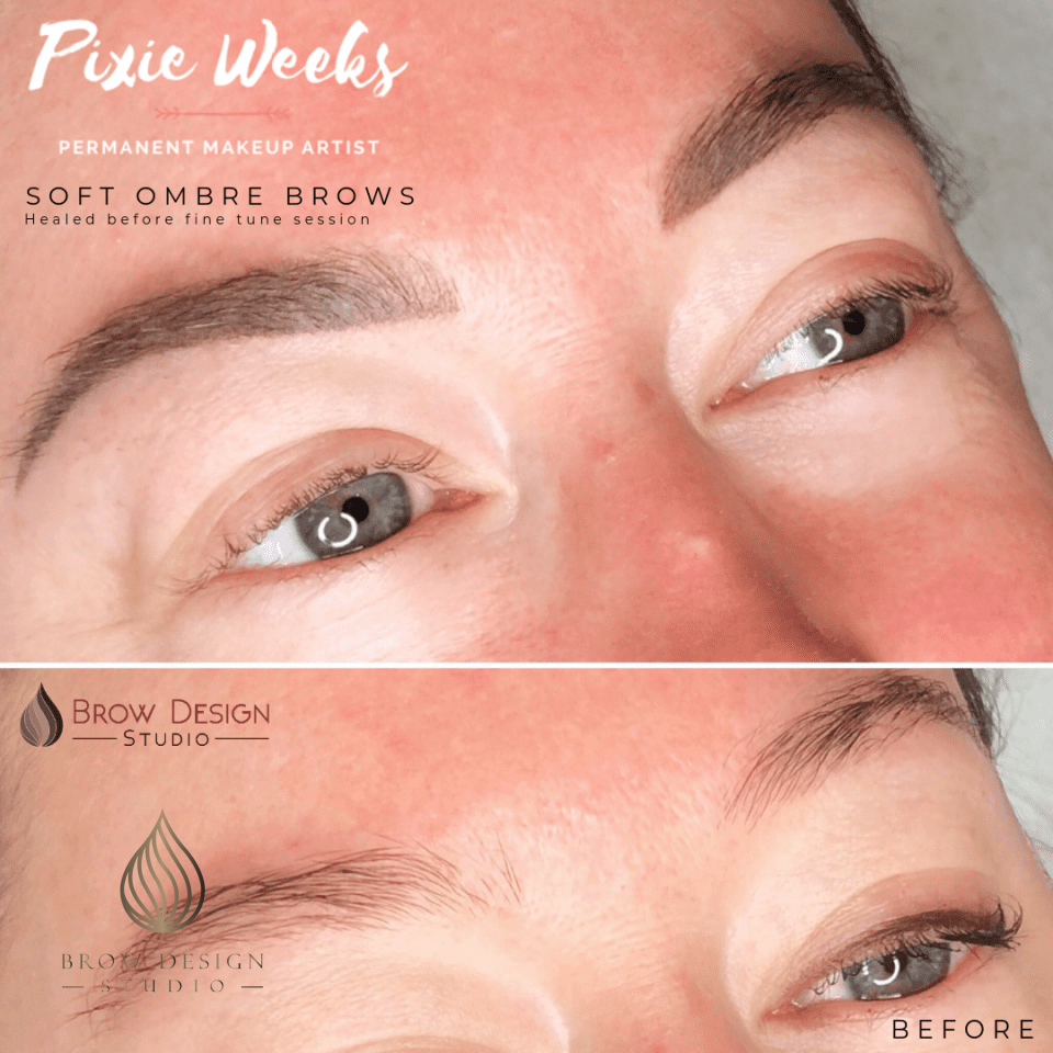 Healed soft ombré brows before fine tune